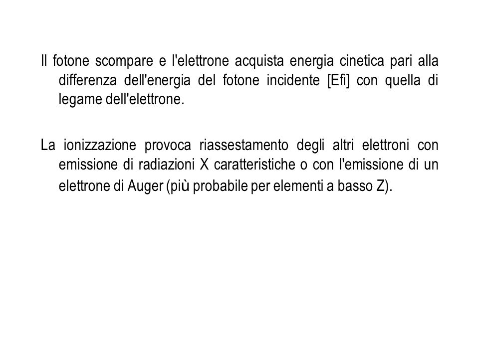 Il fotone scompare e l elettrone acquista energia cinetica pari alla differenza dell energia del fotone incidente [Efi] con quella di legame dell elettrone.